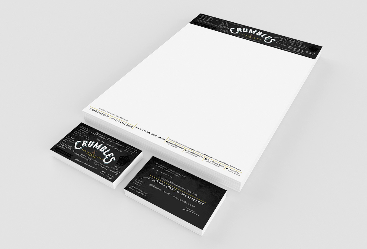 crumbles letterhead and businesscard